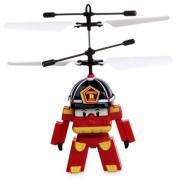 Радиоуправляемая летающая игрушка вертолет RoboCar Поли (14 см, свет, пульт-жезл)