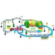 Детский автотрек + железная дорога 3631Y  (подсветка, 136 деталей, дор. знаки)