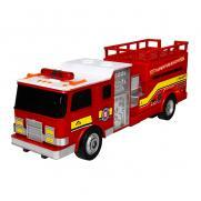 Пожарная машина с подъемной площадкой радиоуправляемая (мигалки, 30 см)