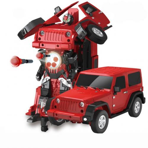 Радиоуправляемый робот трансформер машина Jeep Rubicon  1:14 (30 см, свет, звук)