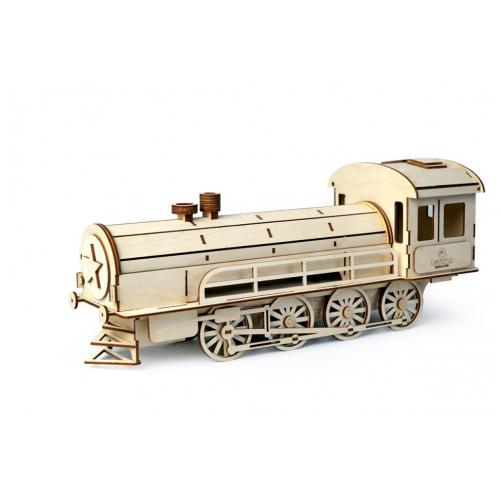 Конструктор 3D деревянный подвижный Lemmo Пенал-Паровоз - 00-23