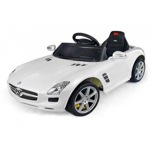Электромобиль для детей радиоуправляемый Mercedes-Benz SLS AMG белый (звук, свет, 110 см)