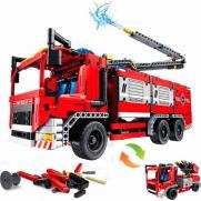 Конструктор QiHui Technic Пожарная машина 2в1 (1288 деталей, стреляет водой, пульт)