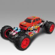 Джип радиоуправляемый Каркадер красный (стреляет ракетами, свет, звук, 24 см)