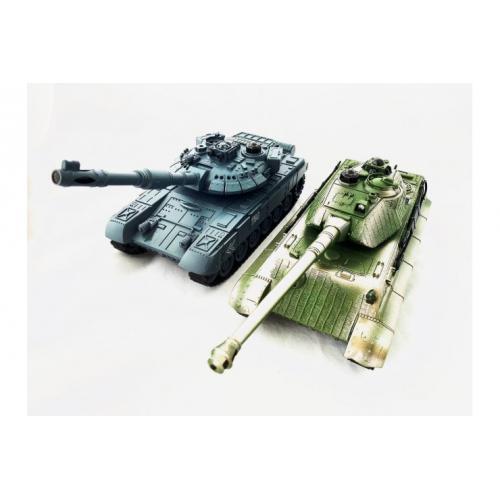 Танковый бой русский T90 и Tiger 1:28 (2 танка по 25 см, звук, свет)