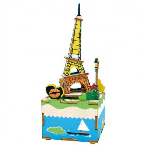 """Деревянный 3D конструктор - музыкальная шкатулка Robotime """"Romantic Eiffel"""""""