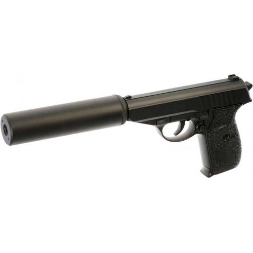 Пистолет пневматика металлический 15 см с глушителем