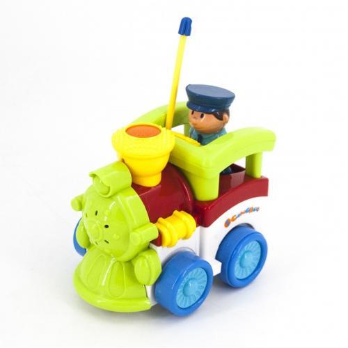 Детский зеленый радиоуправляемый паровоз