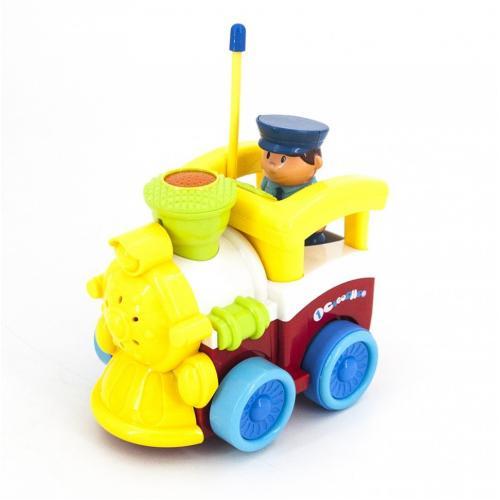 Детский желтый радиоуправляемый паровоз