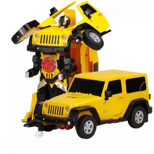 Радиоуправляемый робот трансформер Jeep желтый