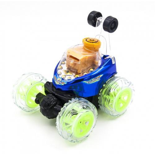 Радиоуправляемая синяя машинка перевертыш со звуком