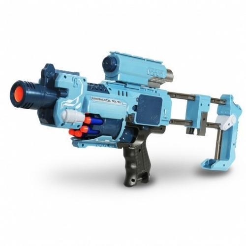 Пистолет с мягкими пулями и фонариком на батарейках