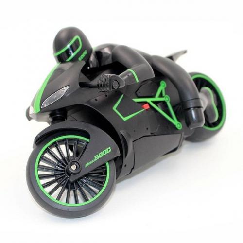 Радиоуправляемый мотоцикл, цвет черный с зеленым (24 см)