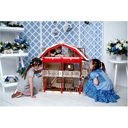 Конструктор 3D деревянный подвижный Lemmo Большой дом для кукол - 00-15