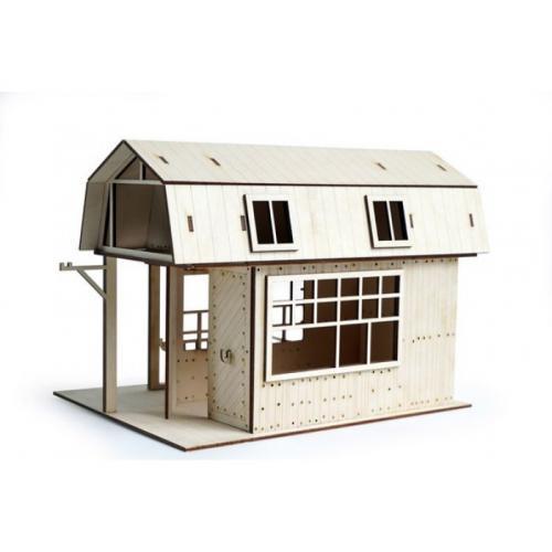 Конструктор 3D деревянный подвижный Lemmo Гараж для трактора - 00-9