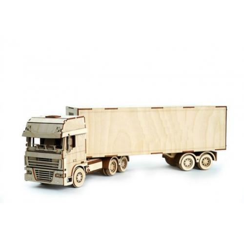Конструктор 3D деревянный подвижный Lemmo Грузовик с прицепом - ГР-9