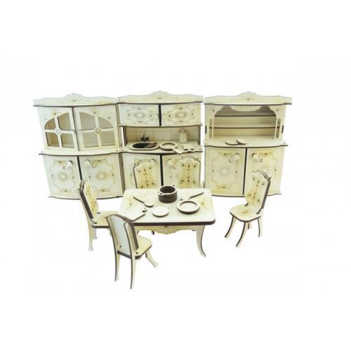 Конструктор 3D деревянный подвижный Lemmo Набор мебели кухня - МЕ-5