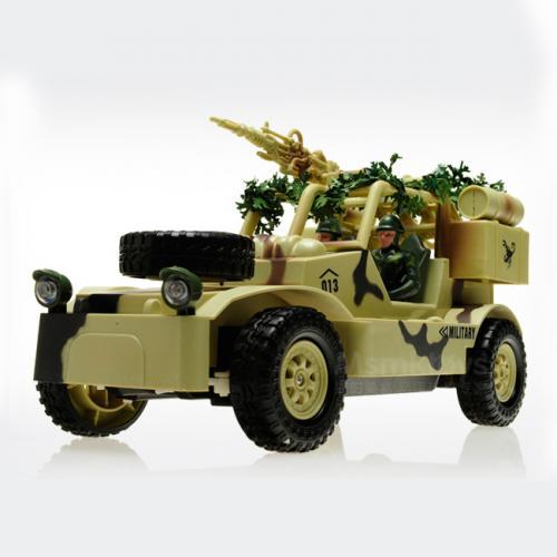Радиоуправляемый военный джип (свет, звук, 30 см, фигурки)