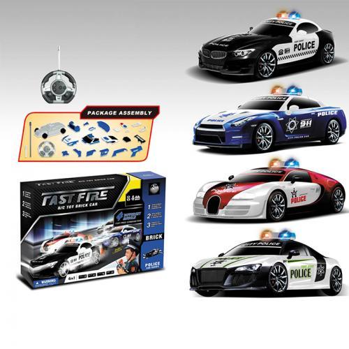 """Радиоуправляемый конструктор - 4 машины BMW, Nissan, Bugatti Veyron и Audi R8 """"Полиция"""""""