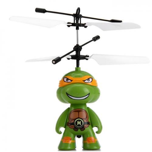 Радиоуправляемая летающая игрушка вертолет Черепашки Ниндзя (14 см, аксессуары)