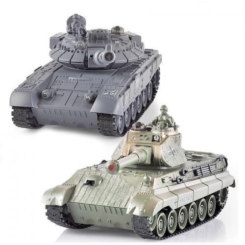 Радиоуправляемый танковый бой русский T90 и Tiger King 1:28 (2 танка по 25 см, звук, свет)