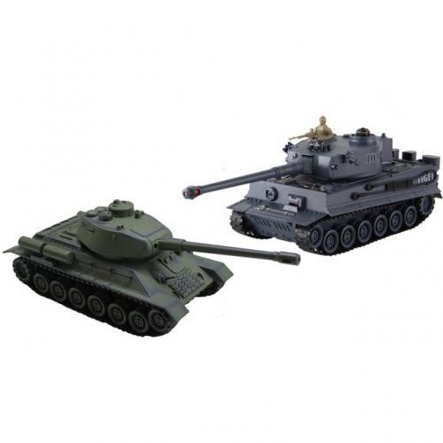 Танковый бой с пультом управления T34 и Тигр 1:28 (по 25 см, звук, свет)