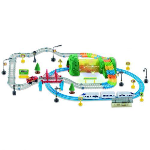 Детский автотрек + железная дорога (подсветка, 136 деталей, дор. знаки)