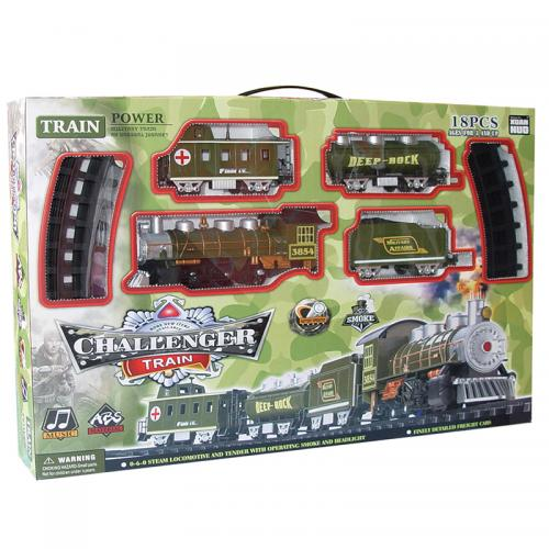 Детская железная дорога Classical Train на батарейках (свет, звук, дым, 18 деталей)