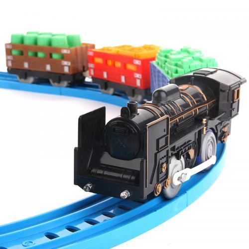 Железная дорога игрушка (19 деталей, 1 поезд с 3 вагонами)