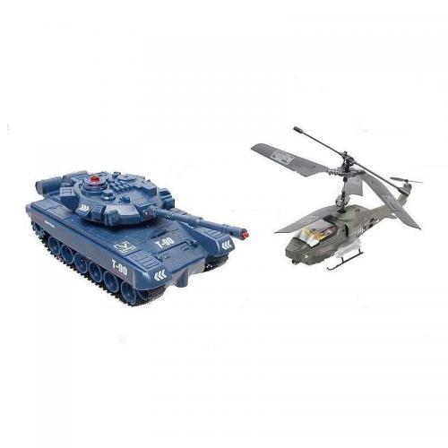 Радиоуправляемый набор танк + вертолет (ИК-пушки, свет, звук, до 15 м)