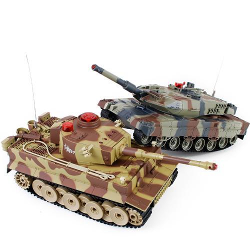 Радиоуправляемый танковый бой Huan Qi 558N 1:24 (2 танка Тигр и Абрамс по 30 см )