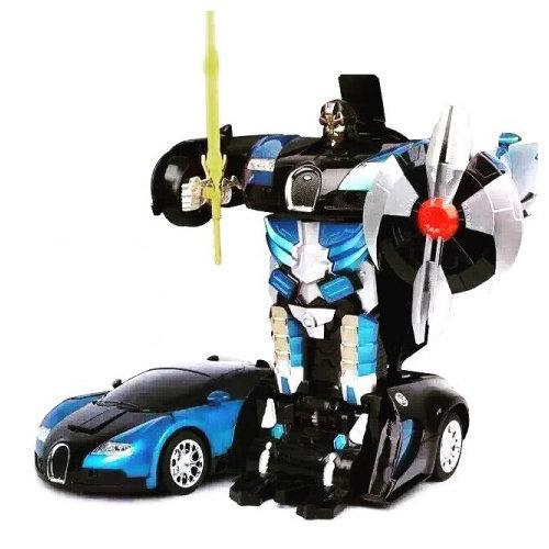 Радиоуправляемый трансформер машинка Bugatti синяя (21 см)