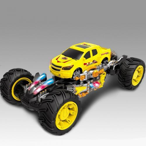 Джип радиоуправляемый Каркадер желтый (стреляет ракетами, свет, звук, 24 см)