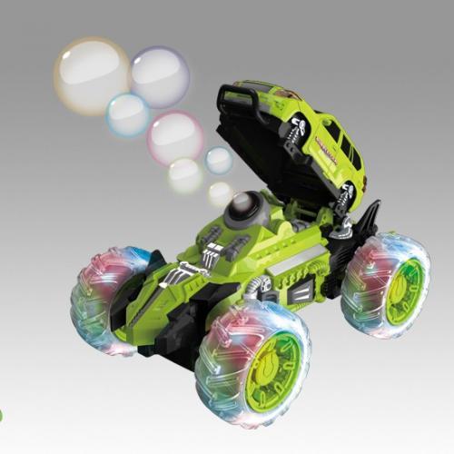 Машина трюковая радиоуправляемая зеленая (мыльные пузыри, 24 см, свет, звук)