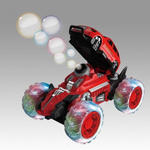 Машина трюковая радиоуправляемая красная (мыльные пузыри, 24 см, свет, звук)