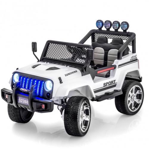 Двухместный полноприводный электромобиль White Jeep 12V 2.4G