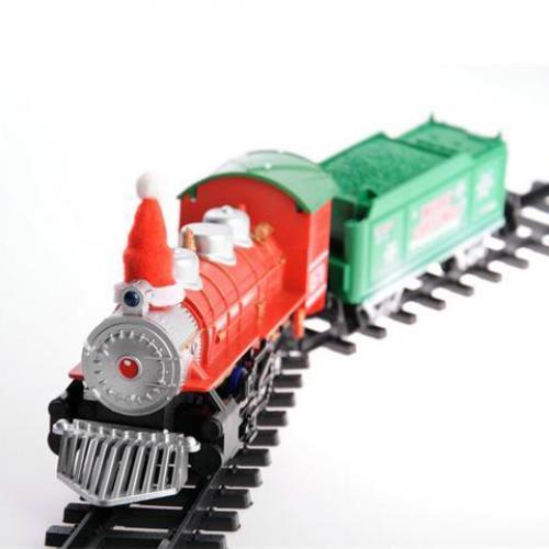 Детская железная дорога НОВОГОДНЯЯ 12 деталей, свет, звук, на батарейках)