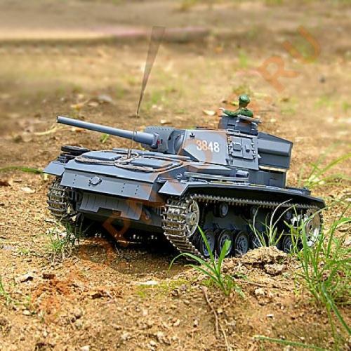 Радиоуправляемый танк Panzerkampfwagen III 1:16 3848-1 PRO (металл. гусеницы, дым, свет, звук, пневмопушка, 54 см)